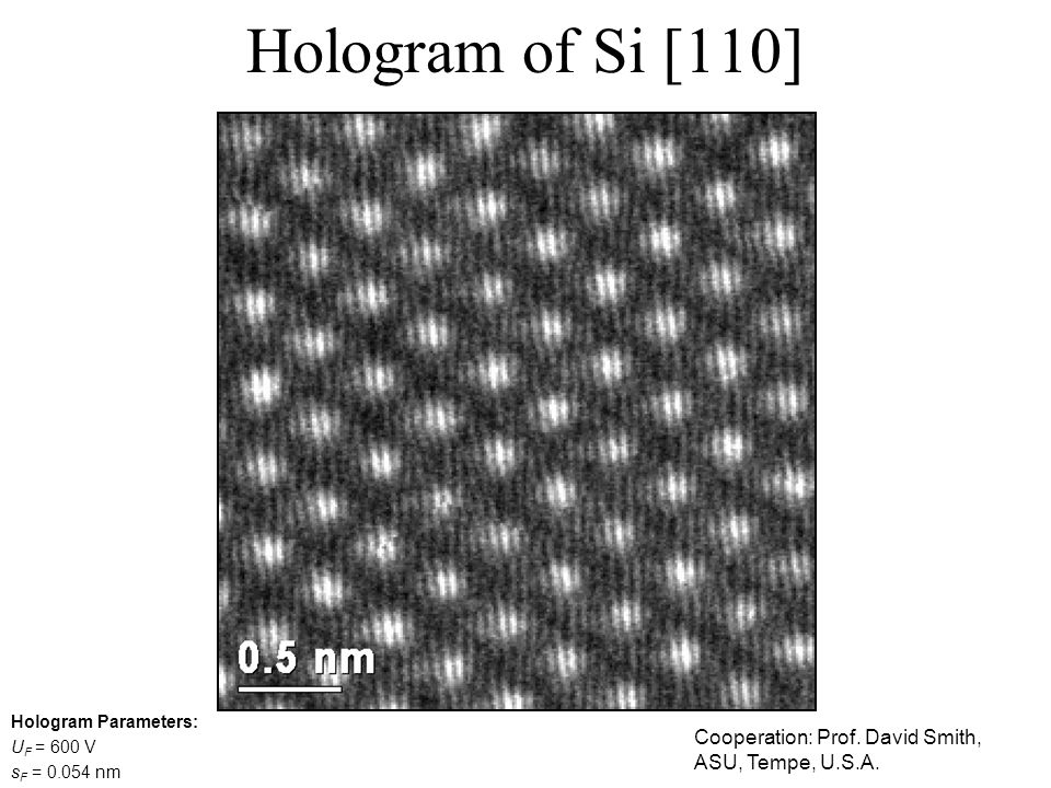 Hologram of Si [110] Hologram Parameters: UF = 600 V.